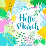 五颜六色的艺术性的创造性的卡片你好3月 免版税库存图片
