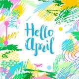 五颜六色的艺术性的创造性的卡片你好4月 免版税库存照片