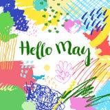 五颜六色的艺术性的创造性的卡片你好5月 库存图片