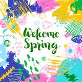 五颜六色的艺术性的创造性的卡片欢迎春天 免版税库存图片
