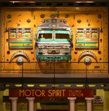 五颜六色的艺术装饰由葡萄酒汽车制成在遗产运输博物馆 免版税库存照片