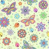 五颜六色的花、蝴蝶和瓢虫 库存照片