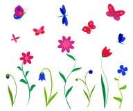 五颜六色的花、蝴蝶和蜻蜓 向量例证