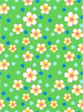 五颜六色的花动画片无缝的传染媒介样式 免版税库存照片