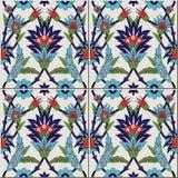 从五颜六色的花卉摩洛哥,葡萄牙瓦片, Azulejo,装饰品的华美的无缝的样式 库存照片
