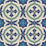 从五颜六色的花卉摩洛哥,葡萄牙瓦片, Azulejo,装饰品的华美的无缝的样式 库存图片