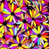 五颜六色的花卉样式有雏菊花背景,传染媒介 库存图片