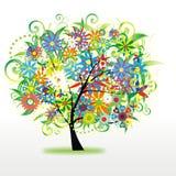 五颜六色的花卉结构树 库存图片