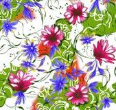 五颜六色的花印刷品设计 库存例证