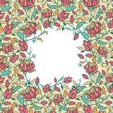 五颜六色的花和叶子框架无缝的样式 库存照片