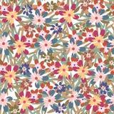 五颜六色的花和叶子背景的无缝的样式 库存图片