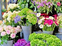 五颜六色的花在街市上 库存照片