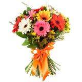 五颜六色的花新鲜,豪华的花束,隔绝在白色背景 免版税库存照片