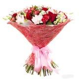 五颜六色的花新鲜,豪华的花束,隔绝在白色背景 库存图片