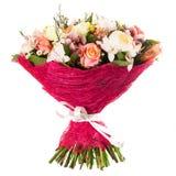 五颜六色的花新鲜,豪华的花束,隔绝在白色背景 库存照片