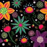 五颜六色的花无缝的模式背景 免版税库存照片