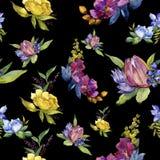 五颜六色的花束热带花 花卉植物的花 无缝的背景模式 免版税图库摄影