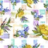 五颜六色的花束热带花 花卉植物的花 无缝的背景模式 免版税库存照片