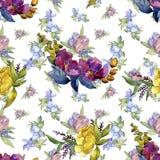 五颜六色的花束热带花 花卉植物的花 无缝的背景模式 库存图片