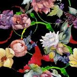 五颜六色的花束 无缝的背景模式 织品墙纸印刷品纹理 库存例证