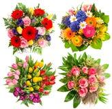五颜六色的花花束为生日,婚姻 免版税库存照片