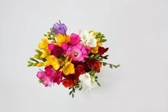 五颜六色的花花束在白色的春天的和夏天休假和明信片 顶视图 免版税库存图片