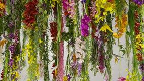 五颜六色的花装饰象一束枝形吊灯 泰国装饰的样式 库存图片
