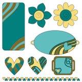 五颜六色的花重点标签标签 库存照片