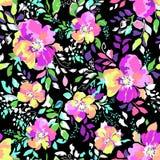 五颜六色的花绽放-无缝的背景 库存照片
