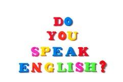 五颜六色的英国词您讲在白色背景,英语的英语学会概念的 免版税库存照片