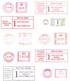 五颜六色的英国邮戳 库存图片