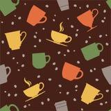 五颜六色的茶杯无缝的样式 免版税图库摄影