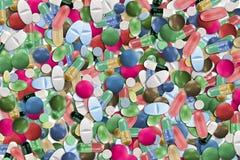 五颜六色的药片拼贴画 库存照片