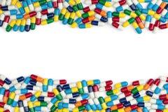 五颜六色的药片边界 库存图片