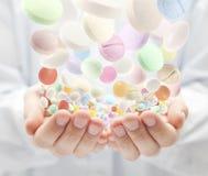 五颜六色的药片 库存图片