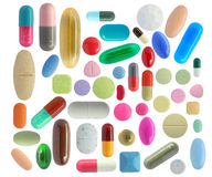 五颜六色的药片 免版税库存照片