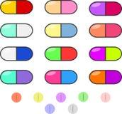 五颜六色的药片 库存照片