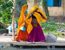 五颜六色的莎丽服的印地安妇女在城市街道 免版税库存图片