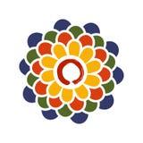 五颜六色的莲花和禅宗圈子例证 库存照片