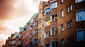 五颜六色的葡萄酒房子和bulidings在马尔摩的历史的部分 免版税库存图片