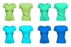 五颜六色的蓝绿色T恤杉 库存照片