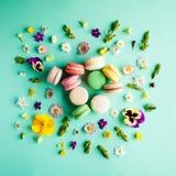 五颜六色的蛋白杏仁饼干和花 图库摄影