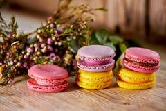 五颜六色的蛋白杏仁饼干蛋糕和鲜花 免版税库存照片
