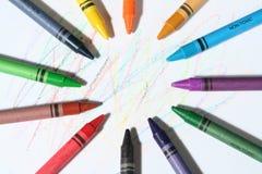 五颜六色的蜡笔 图库摄影