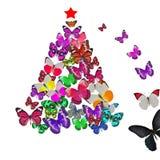 五颜六色的蝴蝶圣诞卡 库存照片