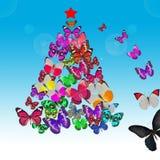 五颜六色的蝴蝶圣诞卡 免版税库存照片