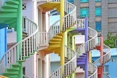 五颜六色的螺旋形楼梯 库存图片
