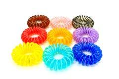 五颜六色的螺旋有弹性头发领带 库存图片