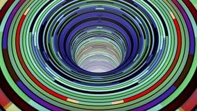 五颜六色的蠕虫孔漏斗隧道飞行无缝的圈动画背景新的质量葡萄酒样式凉快好美丽 股票视频