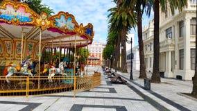 五颜六色的街市在La拉科鲁尼亚队市,西班牙 免版税库存图片